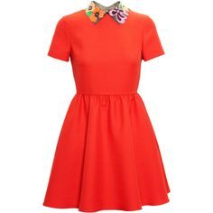 Add a burst of colour to your wardrobe with this bright red, short sleeve bambolina dress from Valentino with added leather collar.