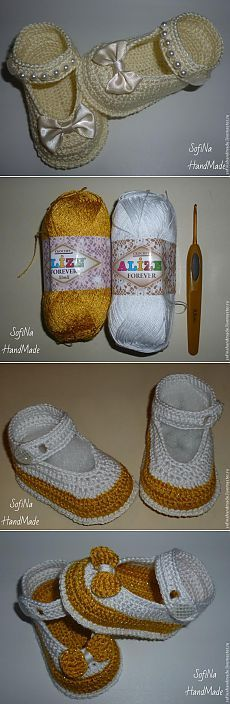 Many liked my boots booties for baptism. To help the girls, I decided to do a mini-master class. I will knit in other colors, but exactly how these shoes are ti Crochet Baby Sandals, Crochet Baby Clothes, Crochet Shoes, Crochet Slippers, Knit Crochet, Gestrickte Booties, Knitted Booties, Crochet Designs, Crochet Patterns