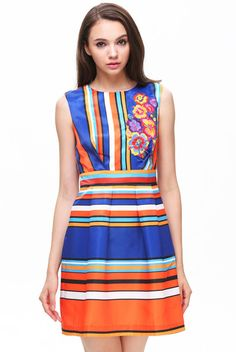 Blue Yellow Sleeveless Striped Floral Dress pictures