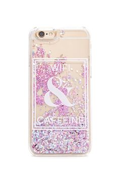 "A clear hard shell case for the iPhone 6® or iPhone 6s® featuring a ""Wifi & Caffeine"" back graphic and a liquid filling with glittered confetti."