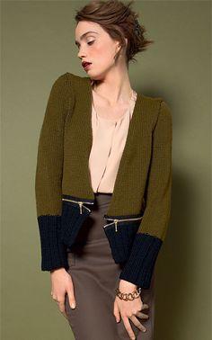 zoom TRICOT GRATUIT - Veste bicolore à zips au point jersey - Création Phildar