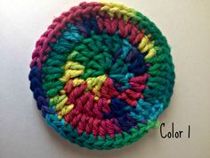 Rainbow coaster made from 100% cotton yarn, durable and easily washed.