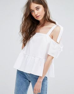 Miss Selfridge Tie Shoulder Top white asos