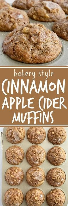 Food Soft cinnamon apple cider muffins loaded with chunks of apple and topped with a generous helping of cinnamon & sugar! These muffins will make your house smell amazing. These muffins are a must make recipe for Fall Apple Cider, Think Food, Oreo Dessert, Dessert Ideas, Snacks, Mini Desserts, Cinnamon Apples, Apple Cinnamon Bread, Cinnamon Recipes