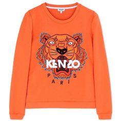 Kenzo Tiger Embroidered Sweatshirt ($300) ❤ liked on Polyvore featuring tops, hoodies, sweatshirts, orange, tiger sweatshirt, embroidered sweatshirts, tiger print sweatshirt, orange sweatshirt and long sleeve tops