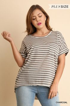 3248e968622f7f Umgee Striped short sleeve knit casual Top Tee shirt plus S M L XL 1X 2X   umgee