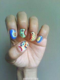 freestylenails: My nails went fishing! Funky Nails, Love Nails, How To Do Nails, My Nails, Fish Nails, Tumblr Nail Art, Abstract Nail Art, Animal Nail Art, Cool Nail Designs