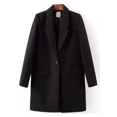 Lapel Single Button Pockets Woolen Black Coat (€38) ❤ liked on Polyvore featuring outerwear, coats, pocket coat, woolen coat, lapel coat and wool coat