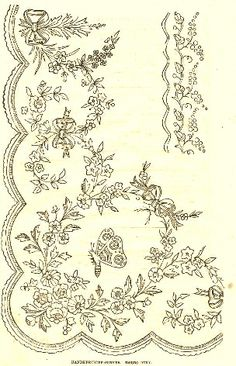 1800's Embroidery Border Pattern - Lace, Flowers and Butterfly  ~~~via http://knickoftimeinteriors.blogspot.com/