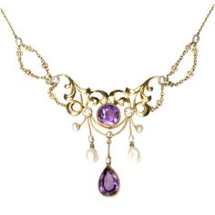 Art Nouveau Amethyst, Diamond and Pearl Gold Necklace - Glorious... ❤ liked on Polyvore