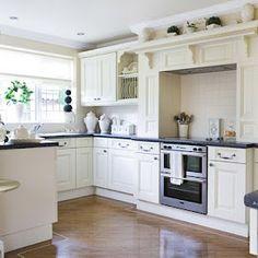 Dress up doorless cupboards with trim.q