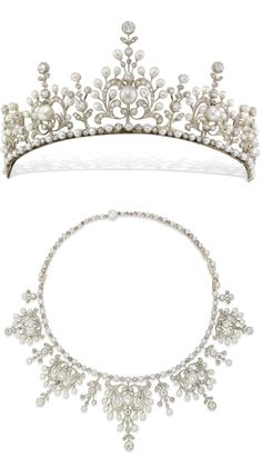 A late Victorian natural pearl and diamond tiara, comprising five principle sections graduated to the centre, of an ornate openwork scroll floral design, all from a necklet of alternately-set pearls and diamonds, with pearl-set snap clasp and safety catch, c1890