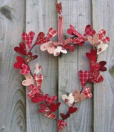Valentine's Day heart wreath with fabric hearts