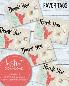 "Printable 3x2"" Thank You Tags - Llama, Boho, Cactus Theme Free Baby Shower Printables, Baby Shower Activities, Baby Shower Games, Baby Shower Party Supplies, Baby Shower Favors, Baby Shower Parties, Favor Tags, Gift Tags, Shower Tips"