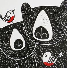 Bears In Love & Robins In Love Original Linocut by KatLendacka