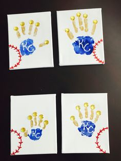 Kansas City Royals handprint crowns! Outlined the KC with white glitter to stand out and the red baseball stitching has red glitter.