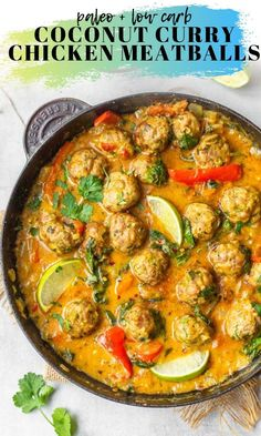 Coconut Curry Chicken Meatballs Coconut Curry Chicken Meatballs – baked Thai flavoured chicken or turkey meatballs swimming in a rich, coconut curry sauce with sliced red bell peppers, wilted spinach and topped with fresh cilantro. Indian Food Recipes, Paleo Recipes, Asian Recipes, Dinner Recipes, Cooking Recipes, Healthy Thai Recipes, Indonesian Recipes, Orange Recipes, Sausage Recipes