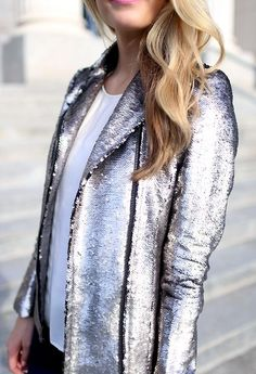 Metallic silver sequin jacket
