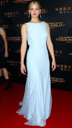 Jennifer Lawrence in an icy blue Dior Couture dress
