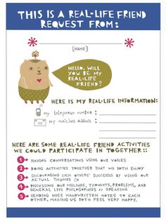 "Real-life friend request card! I love it! ""Encouraging each others' successes by using our actual thumbs."""