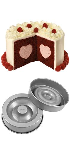 This amazing patented heart cake pan // so you can bake this cake with a heart in it!