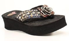 Bling Flip Flops Justin Alexis Rose Concho Multi Color!!