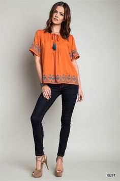 Burnt Orange Top Turquoise Embroidery - Longhorn Fashions
