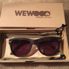 WEWOOD Brand Sunglasses!NEW with Box & Case WeWOOD Sunglasses are made mainly from natural cotton fiber &a wood pulp! Super Classy & Chic Unique Sunglasses!! Picture shown is BROWN. Unisex! Looks Great On! WeWOOD Accessories Sunglasses