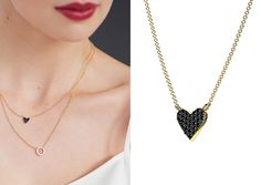 """The Dainty Black Heart Necklace is a minimalistic necklace from Mejuri. It is a sterling silver necklace dipped in gold with black cz stone.From the Designer: """"We think the finest inspiration come..."""