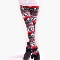 Fashion On Sale Skull Pattern Flannel Autumn/Winter One Size Fitting Leggings;  Fabric: Cotton; Size