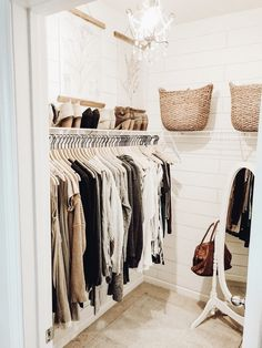 Small closet small closet organization shiplap walls closet organizing organizing a small closet organizing tips organized closet standup mirror pretty closet Closet Refresh: How to Organize a Small Closet Closet Bedroom, Home Bedroom, Bedroom Decor, Bedrooms, Bedroom Ideas, Mirror Bedroom, 1930s Bedroom, Dorm Closet, Closet Mirror