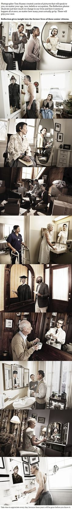 Reflection - When You Look Closely At These 10 Photos, You'll See Why They Mean So Much. My favorite is the woman being cared for by a nurse and in her reflection you can see she was once the nurse not the patient. Break My Heart, Amazing, Awesome, Faith In Humanity Restored, To Infinity And Beyond, Photomontage, Looks Cool, Belle Photo, In This World