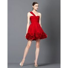BCBG Maxaria gorgeous holiday one strap dress. Worn once gorgeous red dress. One shoulder bustier fit with hidden pockets for comfort and cuteness. Fun detail rosettes all around bottom edge. BCBGMaxAzria Dresses One Shoulder
