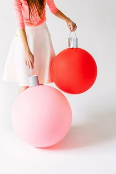 Add these giant Christmas ornament balloons for a playful pop of holiday decor.