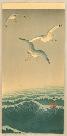 Seagulls over the Waves by Ohara Koson -- ca. 1900-1910.