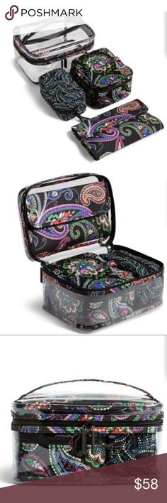 """🆕Vera Bradley 4 pc travel cosmetic set brand new Tag removed. Brand new. Kiev paisley print. Sometimes when you go on a trip, you have a lot of smaller items to corral. This set of cosmetic bags is there for you so you can keep your hair ties tidy and your cosmetics contained. Perfection!Large clear PVC cosmetic holds three smaller cosmetics inside. Does not come with brushes. Only pictured to show how to use.   Dimensions 9 ¾"""" w x 5 ½"""" h x 7"""" d Vera Bradley Bags Cosmetic Bags & Cases"""