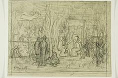 "Pierre Puvis de Chavannes  French, 1824-1898  Compositional study for ""The Sacred Grove, Beloved of the Arts and Muses"", 1883/84"