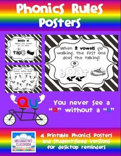 Phonics: Resource 2 Reflection: This is good for posting the rules about learning phonics around your room for easy access to the students.