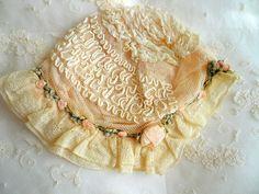 antique ribbonwork french pale pink ribbon rosettes baby bonnet rococo trim | eBay