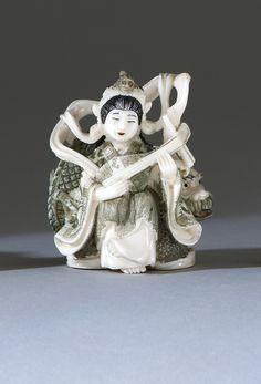 Antique Ivory- Princess Beniten with a Dragon= Taisho Period