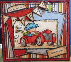 handmade card ... little Vintage guy in red MG ... Lily of the Valley ... Toot Toot ...