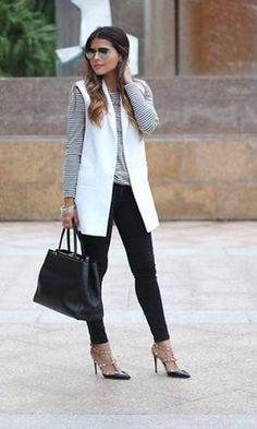 look colete branco longo - Pesquisa Google