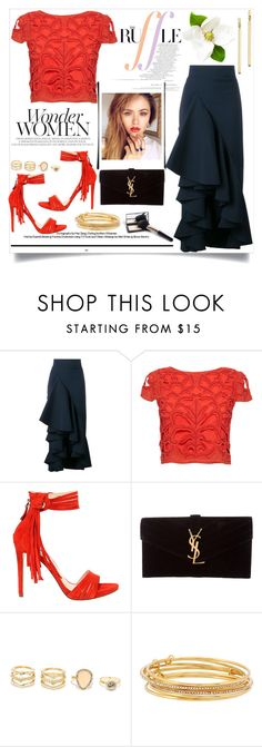"""""""Just Ruffles"""" by cultuerd-stylish ❤ liked on Polyvore featuring Awake, Alice + Olivia, GUESS, Yves Saint Laurent, LULUS, Kate Spade, Bloomingdale's and ruffles"""