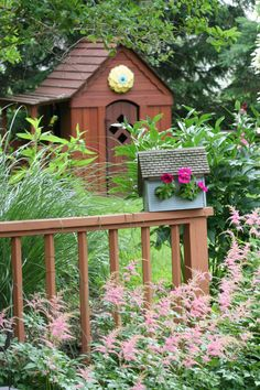 Planter Birdhouse-that is cute having the flowers coming out the windows of the birdhouse.Wonder how that works?