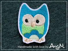 Aufnäher Eule ♥ Applikation Eule ♥ türkis grün von AnCaNi auf DaWanda.com