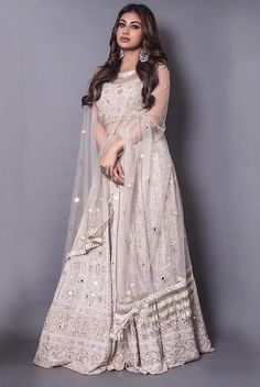 30 Glimmering Mirror Work Lehengas that will Satisfy your Blingy Soul! Indian Gowns Dresses, Indian Fashion Dresses, Dress Indian Style, Indian Designer Outfits, Pakistani Dresses, Designer Dresses, Designer Wear, Girls Dresses, Mirror Work Lehenga