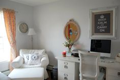 Dens/libraries/offices   Behr Snow Ballet, Shabby Chic Office, Shabby Chic  Home Office