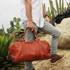 Dublin Color Horween Leather Duffle Bag out in a desert adventure