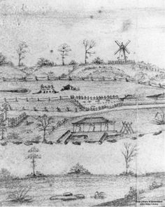 1 - Sketch of the Moreton Bay Settlement drawn from South Brisbane attributed to Henry W. Boucher Bowerman, ca. 1835 (Contributed by: QldPic. Brisbane River, Brisbane Cbd, Brisbane Australia, Windmill Drawing, Van Diemen's Land, Saint Helena Island, Sunshine State, Old Photos, Colonial
