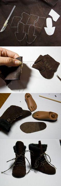 Процесс изготовления ботиночек для куклы